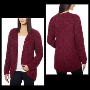 Kenzie Burgundy Fuzzy Eyelash Cardigan Sweater